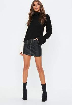 Missguided Tall Black Colour Block Turtle Neck Sweater