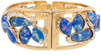 BIJOUX BAR 10021 | Kara Ross Blue Resin & Crystal Twisted Fragment Bangle Bracelet