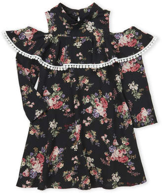 Ava & Yelly (Girls 4-6x) Floral Flounce Cold Shoulder Dress