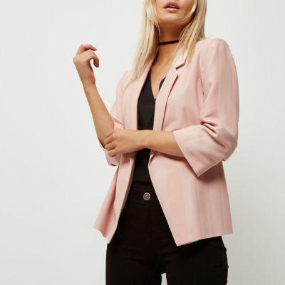 River IslandRiver Island Womens Petite pink ruched sleeve stripe blazer