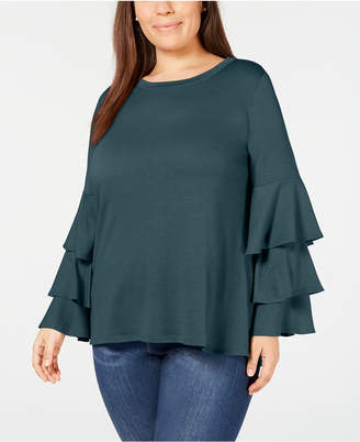 4a90da852e5 NY Collection Plus Size Ruffle-Sleeve French Terry Top