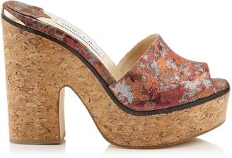 Jimmy Choo DEEDEE 125 Rosewood Mix Painterly Brocade Sandal Wedges