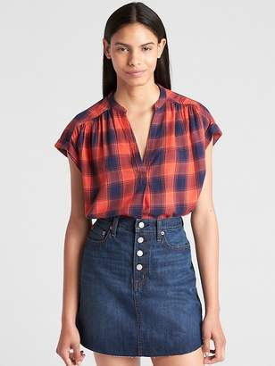 Gap Short Sleeve Popover Shirt in Twill Plaid