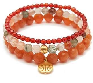 Satya Jewelry Women's Carnelian Rutilated Quartz Red Aventurine Gold Lotus Stretch Bracelet Set
