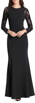 Eliza J Lace-Sleeve Scuba-Crepe Gown