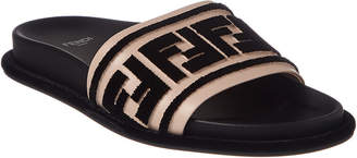 Fendi Ff Logo Leather Slide