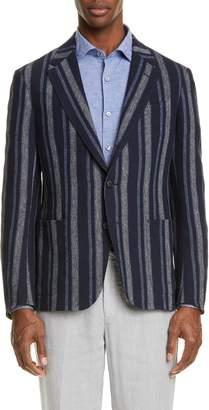 Ermenegildo Zegna Pannel Slim Fit Stripe Linen Sport Coat