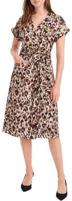 J.Crew Leopard Print Satin Crepe Wrap Dress