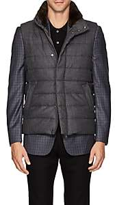 Herno Men's Fur-Trimmed Wool Puffer Vest - Charcoal