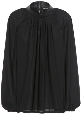 Tom Ford Leather-trimmed silk blouse