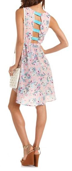 Charlotte Russe Strappy Back Floral Hi-Low Dress
