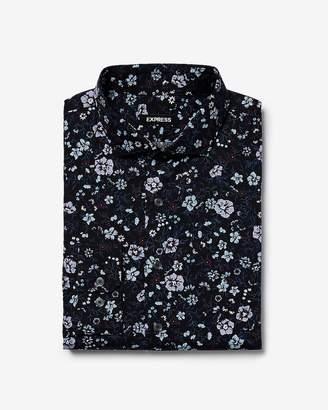 Express Extra Slim Floral Pattern Dress Shirt
