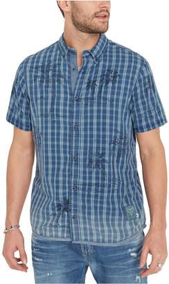 Buffalo David Bitton Men Plaid Palm Tree Shirt