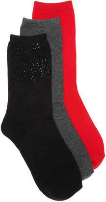 Steve Madden Rhinestone Crew Socks - 3 Pack - Women's