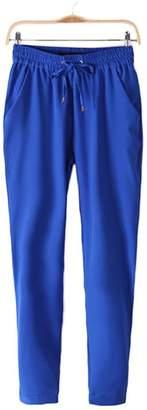 ZHUOTOP Women's Yoga Harem Cotton Elastic Waist Drawstring Soft Pants with Pockets,S