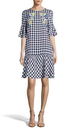 ECI Embroidered Checker Shift Dress