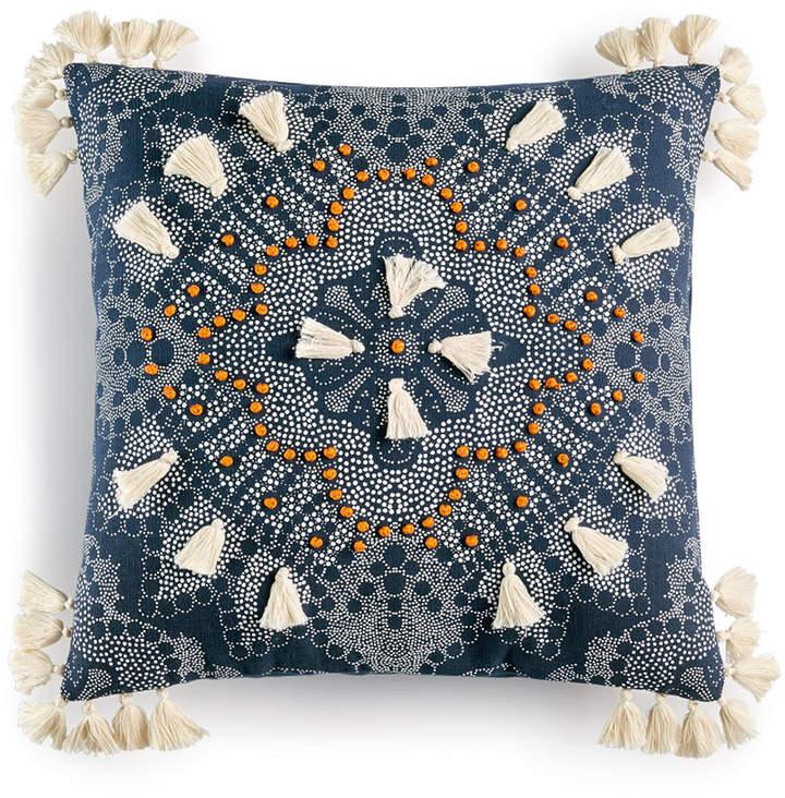 Lacourte Cerus Medallion-Print Tassel 20″ Square Decorative Pillow