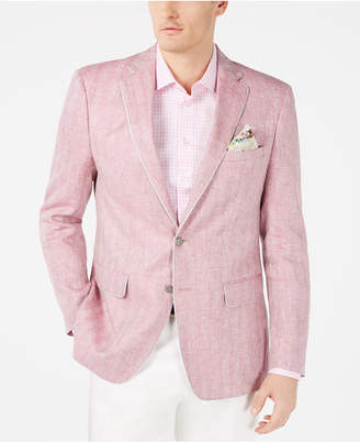 Tallia Men Slim-Fit Pink Herringbone Linen Sport Coat