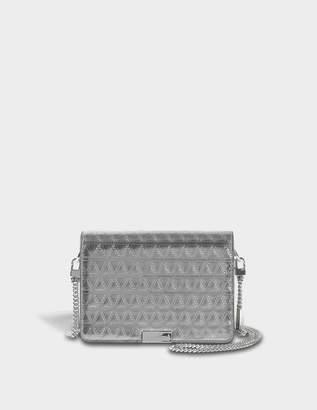 MICHAEL Michael Kors Jade Medium Gusset Bag in Gunmetal Pyramid Quilted Embossed Specchio Leather