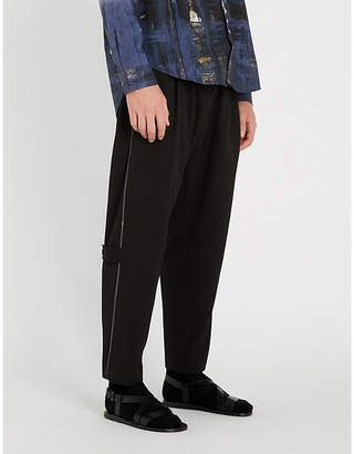 Isabel Benenato Buckle-embellished tailored-fit straight wool trousers