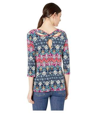 Tribal Printed 3/4 Sleeve Top with Open Back Detail