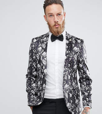 Noose & Monkey Super Skinny Blazer In Velvet With Print