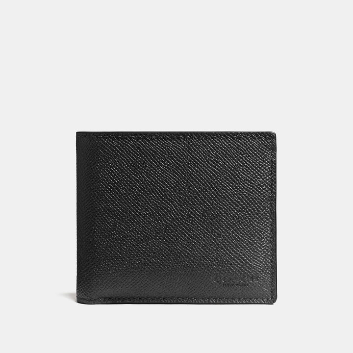 COACH Coach Compact Id Wallet In Crossgrain Leather