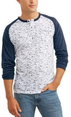 Generic Men's Long Sleeve Raglan Sleeve Two Color Jersey Henley