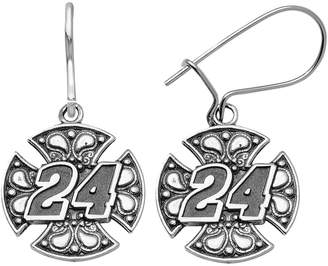 "Insignia Collection NASCAR Jeff Gordon Stainless Steel ""24"" Maltese Cross Drop Earrings"