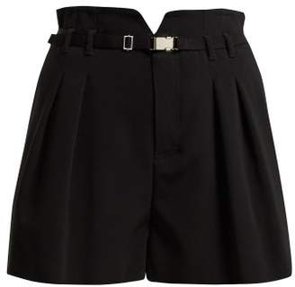 RED Valentino Buckle Detail Pleat Shorts - Womens - Black