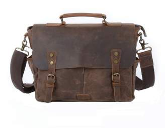 EAZO - Waxed Canvas Messenger Bag With Dslr Camera Sleeve in Brown