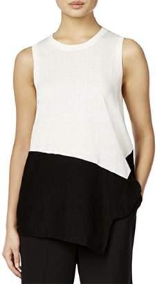 Anne Klein Women's Asymmetrical Color Block Top