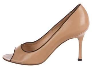 Manolo Blahnik Leather Peep-Toe Pumps