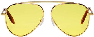 Victoria Beckham Gold Single Bridge Aviator Sunglasses