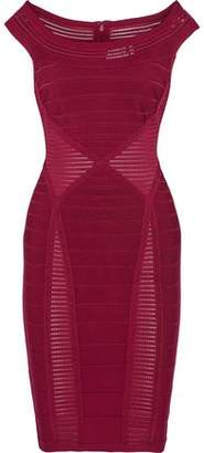 Herve Leger Crochet Knit-Paneled Bandage Dress