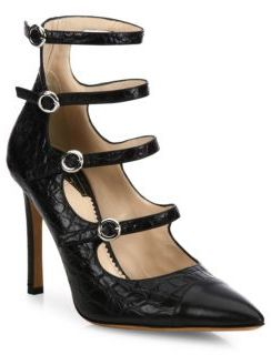 Altuzarra Isabella Silk Croc-Embossed Leather Mary Jane Pumps $995 thestylecure.com