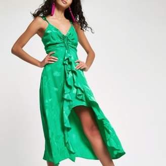 River Island Womens Bright green jacquard frill slip dress