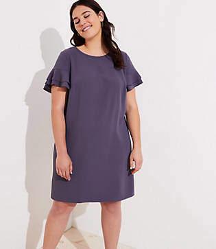 LOFT Plus Tiered Flutter Sleeve Shift Dress