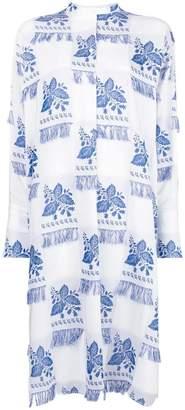 Ports 1961 fringed floral-print shirt dress