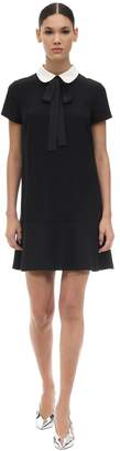 RED Valentino CREPE ENVERS SATIN MINI DRESS W/ BOW