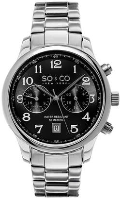 Co SO & NY Mens Monticello Stainless Steel Bracelet Dress Quartz Dual Time Watch J154P54