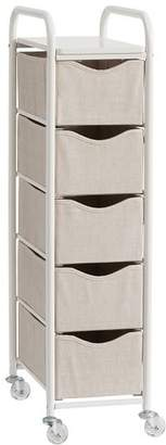 Pottery Barn Teen Ready-to-Roll Storage Cart, 5-Drawer, Linen