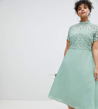 Asos Chi Chi London Plus 2 in 1 High Neck Midi Dress with Crochet Lace