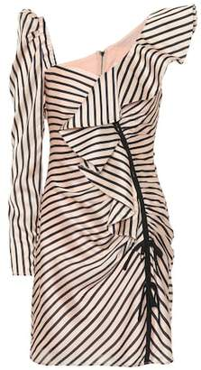 Self-Portrait Striped one-shoulder minidress
