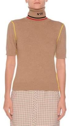 No.21 No. 21 Short-Sleeve Graphic Turtleneck Wool Sweater