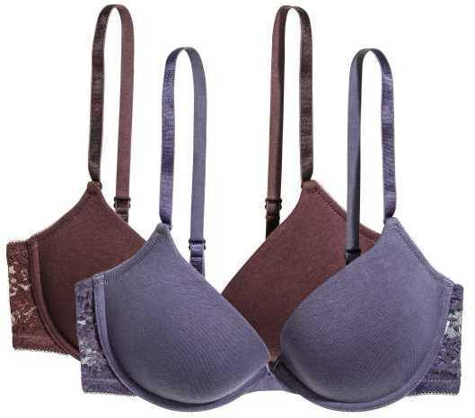 H&M - 2-pack Push-up Bras - White/black - Ladies
