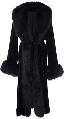 Marei 1998 Powderpuff Velvet Coat With Faux Fur Collar And Cuffs