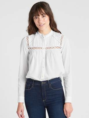Gap Pintuck Mockneck Lace-Trim Blouse