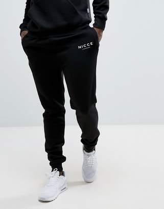 Nicce London skinny joggers in black