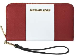 Michael Kors Essential Zip Wallet Wristlet Saffiano Center Stripe Large Coin Multifunction Iphone 6 5 4